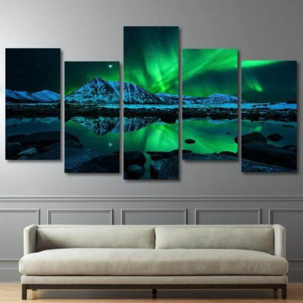 Aurora Northern Lights Starry Canvas Wall Art