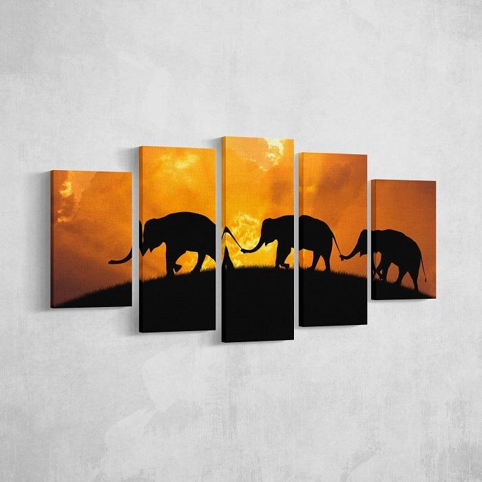 Elephant canvas wall art Scene demonstration