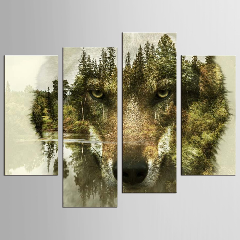 Lone Wolf Wall Art HD 4 Piece Canvas - nature wall art, large wall art, canvas wall art, wolf canvas art, wolf wall art, scenic wall art, living room wall decor, mountain wall art, home wall decor, tree wall art, canvas art, lone wolf wall art, Lone wolf canvas art.