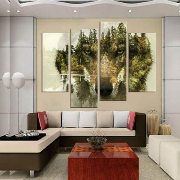 Lone Wolf Wall Art HD 4 Piece Canvas