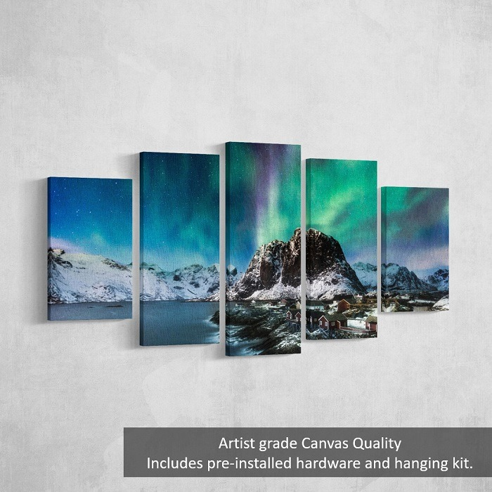 Arctic Mountain Wall Art HD - mountain wall art, cool wall art, purple wall art, teal wall art, accent wall decor, northern lights wall art, wall decor for sale, christmas home decor, home wall decor, mountain painting