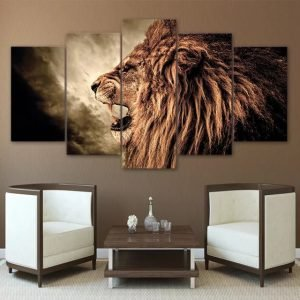 Roaring Lion Canvas Wall Art HD