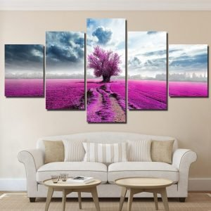 Scenic Countryside Canvas Wall Art HD - tree wall art, canvas tree art, forest wall art, tree canvas prints, nature wall art, vintage tree wall art, sunset wall art, sunset canvas wall art, tree canvas painting, oak tree canvas, pink prints, countryside canvas, scenic wall art, scenic prints, accent wall decor