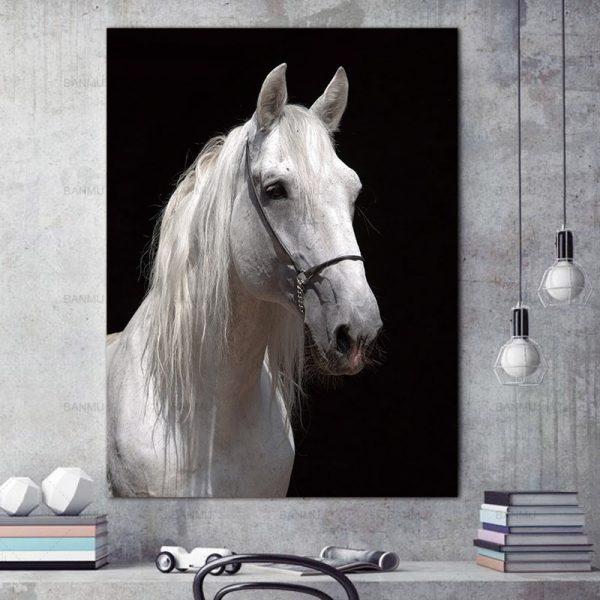 White Horse Wall Art HD Portrait