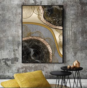 Abstract Golden Treasure Scandinavian Wall Art HD