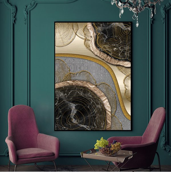 Abstract Golden Treasure Scandinavian Wall Art HD