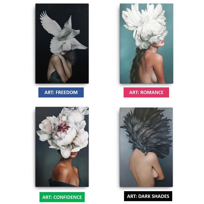 Charming Woman Flower Head Wall Art HD Variants updates