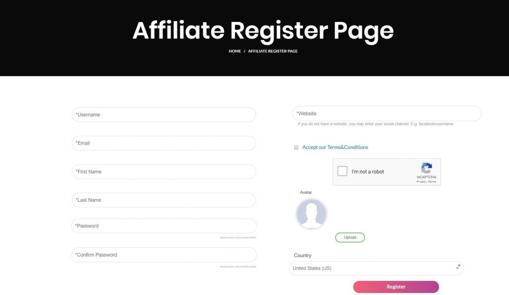 Signup to our affiliate program