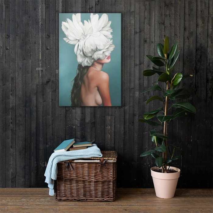 Romance Small Charming Woman Flower Head Wall Art HD 2 updates