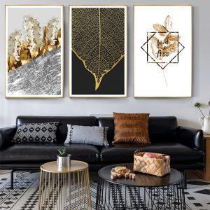 Scandinavian Golden Leaf & Petals Wall Art HD