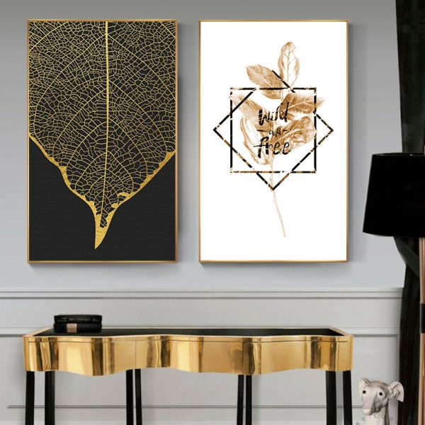 Scandinavian Golden Leaf & Petals Wall Art HD