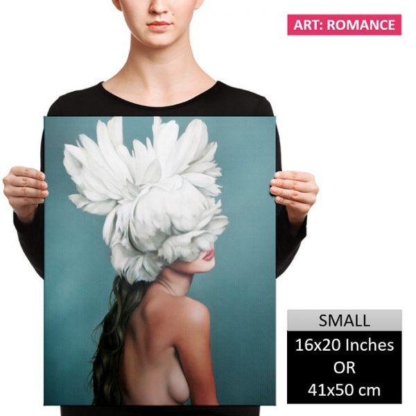 Charming Woman Flower Head Wall Art HD